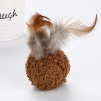 Good Pet Cat Toys Plush Ball Lint 3 Color Plaything Rod Interactive Chat Feather