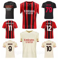 Männer Mailand 21 Pirlo Fussball Jersey 99 Ronaldo 18 Baggio 32 Vieri 11 Crespo 45 Balotelli Donnarumma Red Beige Black 10 Seedorf 2021 2022 Fußball Hemd Kits Acmilan