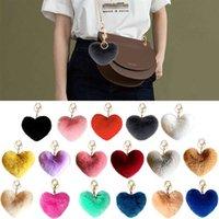 2021 New Lovely Heart Keychains Women's Pom Poms Faux Rex Rabbit Fur Ball Key Chains Girl Bag Hang Car Key Ring Pendant
