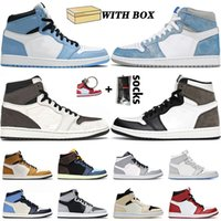 Com caixa 2021 qualidade superior og 1 1s sapatos de basquete universidade azul hyper royal treavis scottsJordânia Dark Mocha Mens Mulheres Jumpman Trainers Sneakers