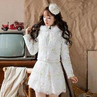 الأميرة الحلو سترة بيضاء الحلوى المطر زهرة الدانتيل الديكور التطريز الفراء طوق سستة تصميم اليابانية C16CD6227 المرأة رياضية