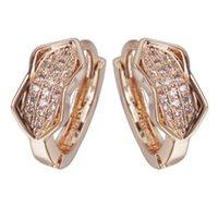 Yunkingdom Aretes einzigartige Kristallreifen Ohrringe für Frauen Rose Gold Kreis Weibliche Kleine Hoops Huggie