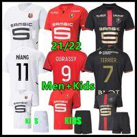 RENNES 22 22 Stade Rennais FC Soccer Trackys Doku Terrier Bourigeaud Guirassy Camavinga 120-й игрок версия 2021 2022 Mailoots de oep Men Kids Kit Футбольные рубашки