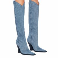 Boots Blue Cowboy Women's Autumn Boot 2021 Fashion Thick-heeled Square Toe Western High Heels Knight
