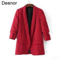 Women's Suits & Blazers Deenor Elegant Women Workwear Solid Color Buttonless Suit Female Slim Casual Coat Fit Minimalist Office Lady Blazer