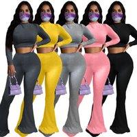 Chándal de las mujeres Dos piezas Set Sólido Color Sólido Cintura Alta Manga Larga Tops Big Horn Pantalones Pierna Moda Casual Obesidad Señoras Trajes Nuevo 2020