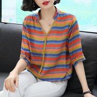 Женские блузки Рубашки Летние Среднего хозяина Женщины Полукавенные Балузные Топы Женщина Мода Свободная полоса Стенд Цвет Рубашка Пуловер W87 K3Y3