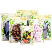 Storage Bags 100Pcs Lot Plastic Bag With Clear Window Green Leaf Printed Self Seal Tear Notch Reusable Food Pack Pouches