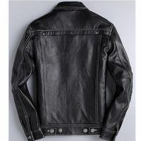 Men's Leather & Faux Genuine Cow Mens Motorcycle Real Jacket Men Jaqueta De Couro 1807 YY1019