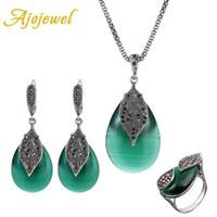 Orecchini collana ajojewel parure bijoux femme rosso / verde opal set gioielli set da sposa festa da sposa donne accessori vintage