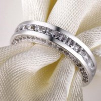 Vintage Fashion Jewelry 925 Sterling Silver Princess Cut White Topaz CZ Diamond Gemstones Women Wedding Band Ring