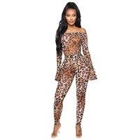 Leopardo stampa sexy senza spalline manica lunga scava fuori bodycon vestito donna due pezzi abiti autunno inverno moda clubwear jkdk
