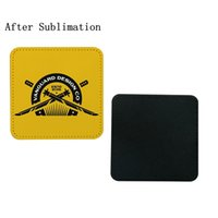 Sublimation Blanks PU Drinking Cups Mats Round Water Tumblers Coasters Non Slip Thermal Heat Transfer Printing White Leather Coaster Square Bottom Protection Mat
