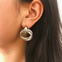 Fashion Double Spiral Hoop Dangle Earrings Simple Silver Plated Metal Circle Shape Trend Earring For Women Girl Jewelry Gift