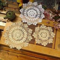Mats almofadas artesanais redondo lace mesa de algodão lugar almofada pano crochet caneca de copo de placemat chás de chá de café doily cozinha