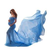 Fotografía de maternidad Pretts Plazo de embarazo Algodón + Casa de gasa Maternidad Apagado Hombro Halfo Círculo Vestido Foto de tiro Vestido Embarazado