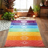 Yoga Mats Beach Towel Picnic Rectangle Quick Dry Rainbow Print Tapestry Outdoor Wall Hanging Lightweight Travel Bath Spa Tassel Colourful