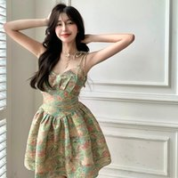 Casual Dresses Summer Women French Style Floral Sweet Spaghetti Strap Short Dress Female Sexy Elegant Backless Party Mini Korean