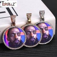 Kolye Kolye Özel PO Bellek Madalyonlar Katı Kolye Tenis Zinciri Ile Hip Hop Takı Kişiselleştirilmiş Kübik Zirkon Zincirleri Hediye