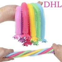 DHL Rainbow Fidget Toys Sensory Toy Sensory Nouilles Corde TPR Stress Stress Stress Stress Licorne Malala Le décompression Tirez les cordes Soulagement de l'anxiété pour les enfants drôles
