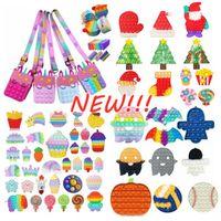 DHL Tiktok Fidget Toys Push It bag Bubble Favors Antistress Christmas Halloween Anti-stress Sensory Gifts Reusable Squeeze Stress Reliever Pencil bags Coin Purse