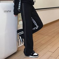 2021 autumn and winter new Korean ins striped Plush casual pants students' loose straight mop pants for men and women