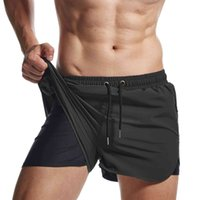 Mens Quick Dry Swim Short Trunk Beach Swimmwear 2 in 1 Tech Running Shorts Athletic Sport Gym Workout Shorts By Aimpact AM2219 Y0412
