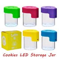 Tolle!!! LED-Vergrößerungs-Stash-Glas-Kekse MAG-Magnify-Ansicht-Container-Glas-Aufbewahrungsbox USB wiederaufladbare leichte Geruchssicherer Lager schneller Schiff