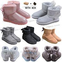 2021 с коробкой дизайнер Австралия австралийская обувь сапоги женские женские мужчины зима снег такато бабочка пушистый пушистый атласный ботинок лодыжки панк-пинетки WGG кожа на открытом воздухе