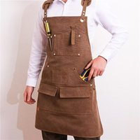 Aprons Durable Goods Heavy Duty Unisex Canvas Work Apron With Tool Pockets Cross-Back Straps Adjustable For Woodworking Painting