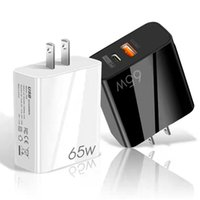 Super Fast Quick Charge 65W PD Wall Charger Eu UK US 2Ports Type C USB-C Power Adapter For Ipad Iphone 11 12 13 Samsung Tablet PC Android phone With Retail BOX