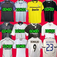 1996 1997 Retro Real Madrid Futebol Jersey Guti Goleiro Ramos McManaman 13 15 15 Ronaldo Zidane Beckham 06 07 Raul Robinho 1999 2000 Carlos 94 95 96