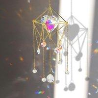 Obiekty dekoracyjne Figurki Suncatcher Crystal Love Heart Chandelier Wisiorek Prism Wiszące Lampa Ornament Słońca Piłka Metal