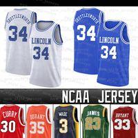 NCAAS HUTTLE SWORTH # 34 Lincoln Wade James Durant 23 Lebron Iverson 3 Allen AntetokounMPO College Basketball Jersey