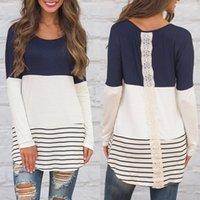 Moda Nuovo Arrivo Abbigliamento Donna Abbigliamento Lady O-Neck Manica Lunga Contrasto Colore a strisce a strisce Tunica Tunica Tunica Top femminile T-shirt