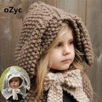 Chapéus de brim largo chapéus 3d chapéu animal com orelhas de malha coelho orelhas de coelho headwear inverno menino menina crianças cachecol quente cachecol gi ivk1