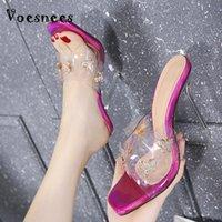 VOOSNEES Bayan Terlik 2021 Yaz Şeffaf Yay Kare Toe Kristal Yüksek Topuklu 12 cm Kadın Ince Sandalet Düğün Ayakkabı