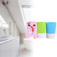 家の自動歯磨き粉のディスペンサー家族の歯ブラシのホールダーのための家の家の壁の山の棒の浴槽セット歯磨き粉スクエア1402 V2