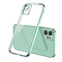 Düz Kenar Şeffaf Telefon Kılıfları veya iPhone 11 12 Pro XS Max XR 7 8 Artı SE2020 Yumuşak Galvanik TPU Lens Tampon Ile Herşey Dahil Koruyucu Kapak