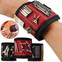 강력한 자기 손목 밴드 포켓 도구 가방 실용적인 팔 밴드 손목 도구 키트 벨트 주머니 가방 벨트 나사 홀더 지주 도구 FHL171-WLL