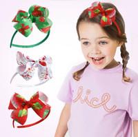 Christmas Headband for Girls Hairband Handmade Printed Ribbon Bows Hair Hoop Children Kids Party Hairs Accessories