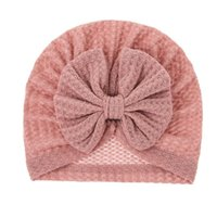 Caps & Hats Solid Color Waffle Baby Hat Big Bowknot Girl Turban Knot Head Wraps Kids Bonnet Beanie Born Pography Props