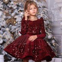 Sequin Burgundy Baby Girl Dress Velvet Full Sleeves Flower Girl's Dresses Knee Length For Kids Bow Puffy First Communion