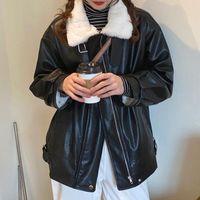 High Street Long Sleeve Fur Coat Women Black Loose Plush Leather Moto Jacket Winter Outerwear Female Warm PU Women's & Faux