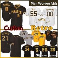 Pittsburgh Custom männer Frauen Kinder Piraten Baseball Trikots 55 Josh Bell 21 Roberto Clemente Melky 53 Cabrera 26 Adam Frazier 29 Francisco Cervelli 50 Jameson Taillon