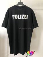 2021 Vetemes Vetements Polizei Logo Футболка Мужчины Женщины Фронт Руководства Полиция Буквы Печать Ветерижения Топы Tee Невывечивают VTM с коротким рукавом