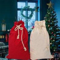 Santa Sack Linen Christmas Candy Bag with Drawstring Xmas Gift Sacks Apple Present Storage Bags for Kid