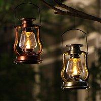 Solar Lamps Battery Vintage Kerosene Lantern Camping Light Outdoor LED Candle Flame Portable Tent Lamp Garden Decoration Rechargeable
