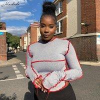 Macheda осенние лоскутные кладущие с длинным рукавом футболки женщины мода o шеи улица стройная одежда леди повседневная серая футболка серые Tees Mujer 2021