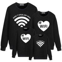WiFi الخريف الحب الكرتون الطباعة سوياتشيرتس الأكمام طويلة فضفاضة الأب، الأم، الأطفال، عائلة من أربع البلوزات